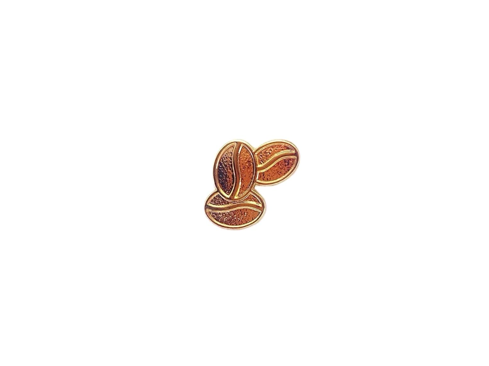 pin's grains de café dorés