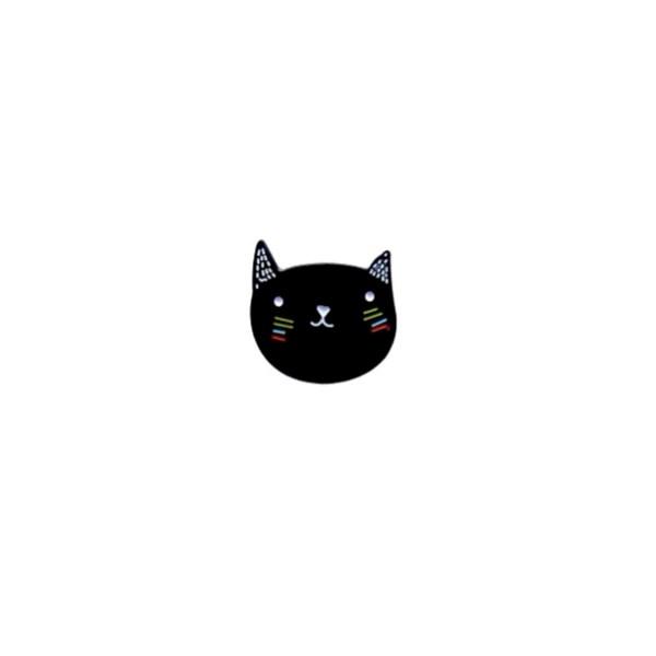 pin's tête de chat noir