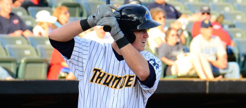 Yankees prospect Tyler Austin with the Trenton Thunder (Flickr user: Rand Greenblatt)