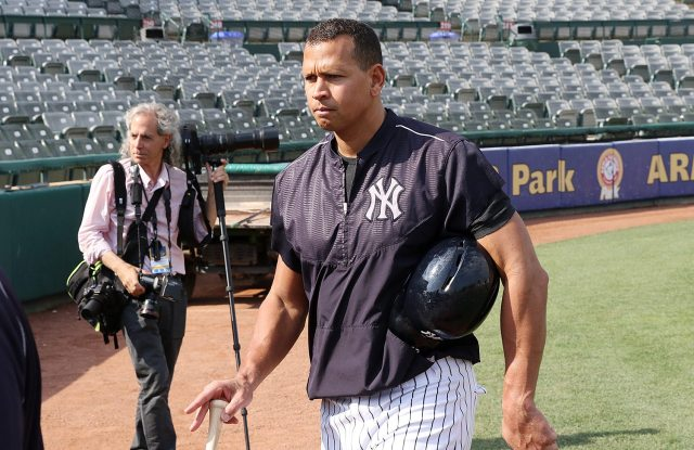 New York Yankees slugger Alex Rodriguez leaves he field after taking batting practice with the Trenton Thunder at ARM & HAMMER Park in Trenton on Tuesday, May 24, 2016 before a game against the New Hampshire FisherCats. Rodriguez joins the Double A team as part of a rehab assignment because of a hamstring injury Photo by Martin Griff