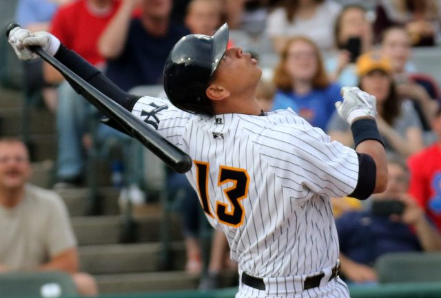 New York Yankees slugger Alex Rodriguez pops out to second base in the first inning, at ARM & HAMMER Park in Trenton on Tuesday, May 24, 2016 against the New Hampshire FisherCats. Rodriguez joined the Double A Trenton Thunder team as part of a rehab assignment because of a hamstring injury Photo by Martin Griff