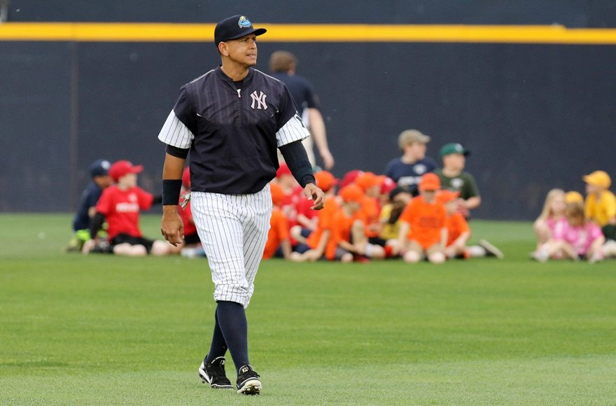 New York Yankees slugger Alex Rodriguez warms up in the outfield at ARM & HAMMER Park in Trenton on Tuesday, May 24, 2016 before a game against the New Hampshire FisherCats. Rodriguez joins the Double A Trenton Thunder as part of a rehab assignment because of a hamstring injury Photo by Martin Griff