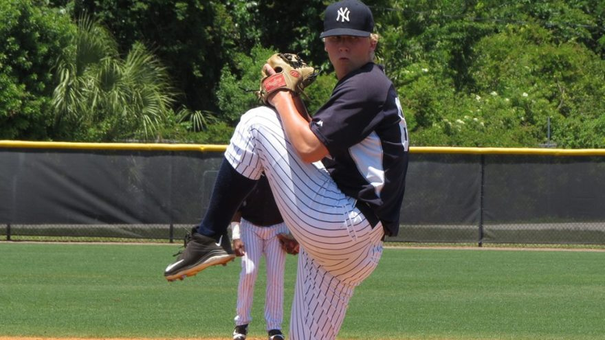 New York Yankees minor league prospect Chad Martin on the mound in an extended spring training game at the Yankees Himes Complex (Bryan Green)