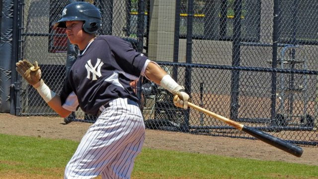 New York Yankees minor league prospect Diego Castillo at the plate in an extended spring training game at the Yankees Himes Complex (Bryan Green)