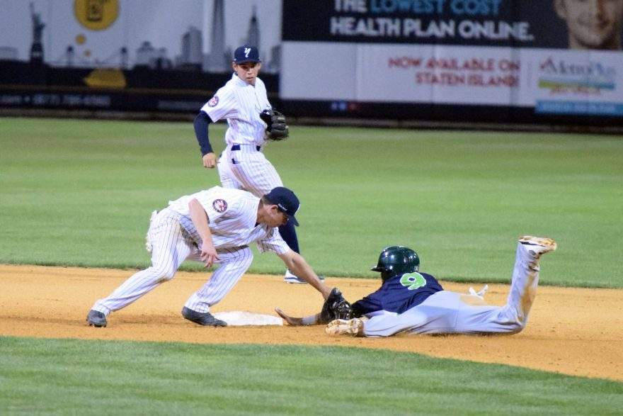 Jesus Lopez caught stealing at second base in the sixth inning. (Robert M. Pimpsner)