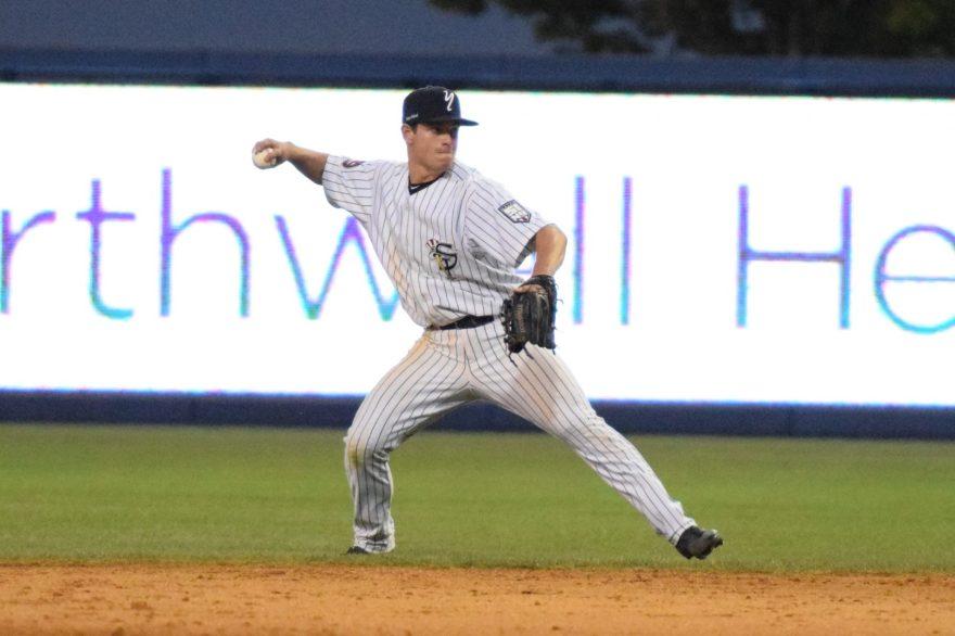 Nick Solak fielding the ball at second base. (Robert M. Pimpsner)