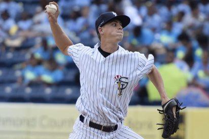 Mark Seyler pitching in the seventh inning (Robert M Pimpsner)