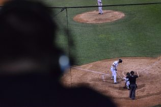 The view from the SI Yanks radio booth as Trey Amburgey steps up to the plate (Robert M Pimpsner)