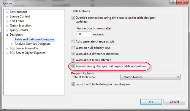 SQLServer_PreventSavingChangesTableRecreation