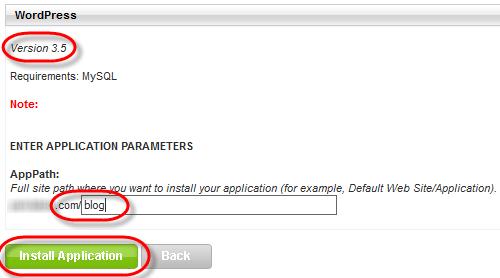 Winhost App Installer WordPress Install FolderName