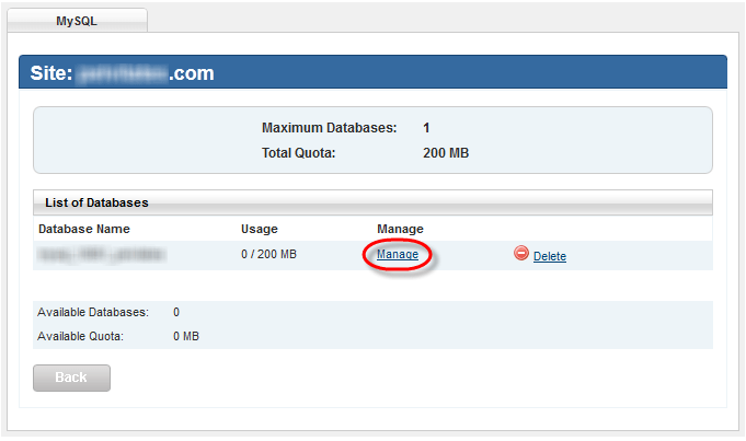 Winhost MySql Setup Success Message