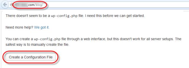 WodrPress Setup Config File