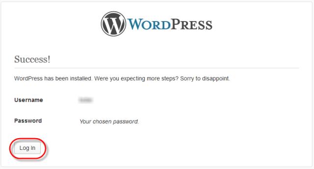 WodrPress Setup Config Success Message