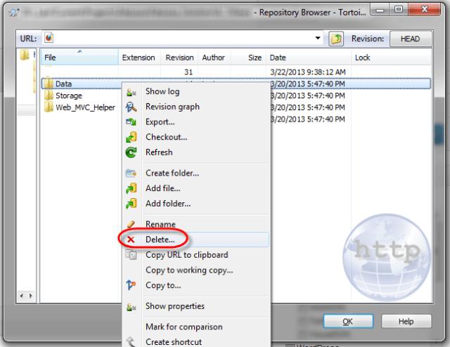 TortoiseSVN repo browser folder delete