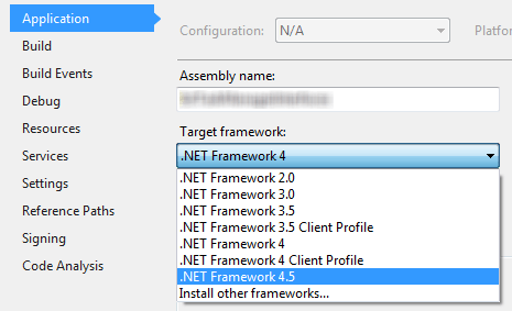 Visual Studio Application Target Framework