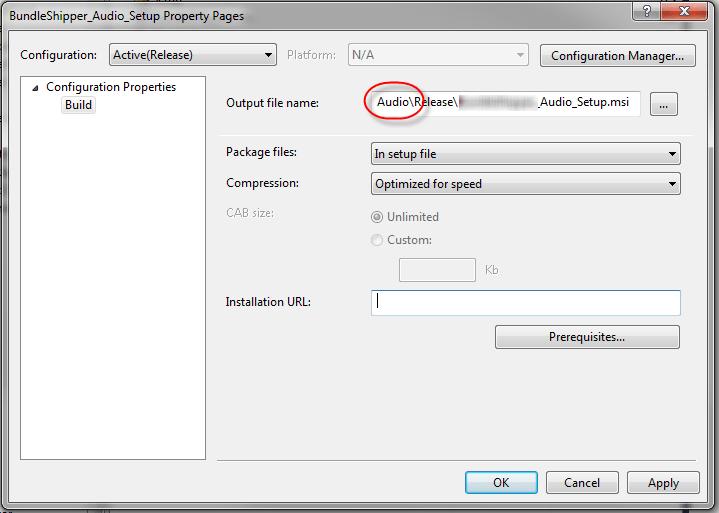 Visual Studio Multiple Setup Projects Output File Name