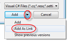 visual studio convert to 2012 project add as link