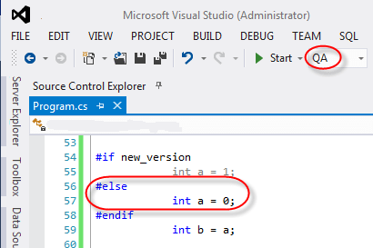 visual studio conditional compilation symbol false