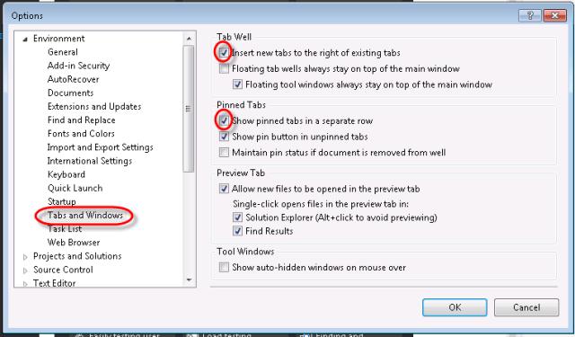 visual studio options tabs