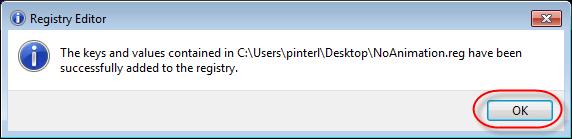 Registry Editor Success dialog