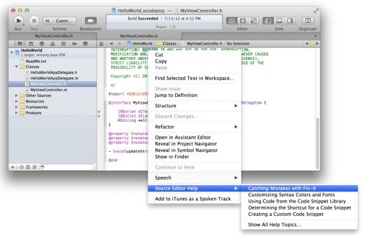 xcode source editor help