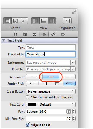 xcode text field attributes