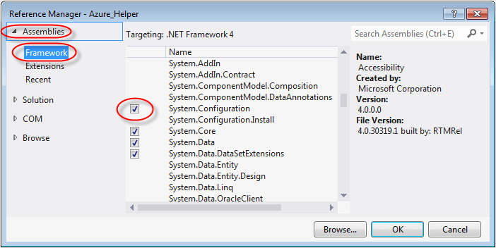 visual studio add reference system configuration