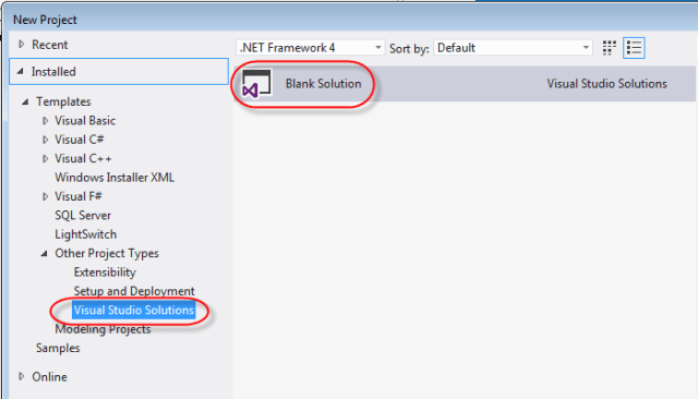 visual studio blank solution
