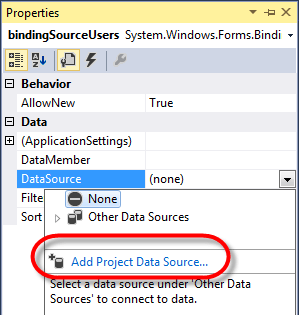 Visual Studio DataGridview Binding DatSource properties select data source