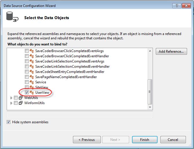 Visual Studio DataGridview Binding Data Source properties select data object
