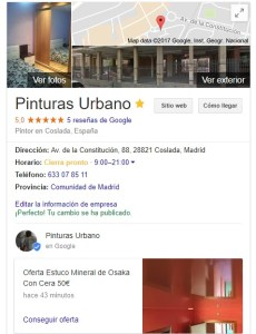 Google Reseñas Pinturas Urbano