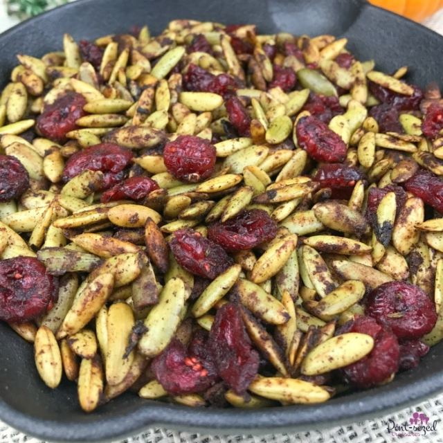Toasted pumpkin seeds with cranberries and spices