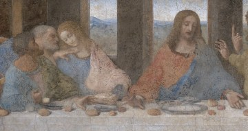 Detail from Da Vinci's Last Supper: One of the book's few legitimate claims is that Da Vinci's John, the blonde next to Jesus, looks like a woman.