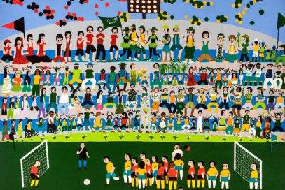 """Ilustração de Ivanise está entre as obras da Coletiva """"Pintando a Copa"""", exposta na Pinacoteca do Palácio Potengi"""