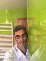 Reflejos sobre estuco veneciano verde paredes wc (4)