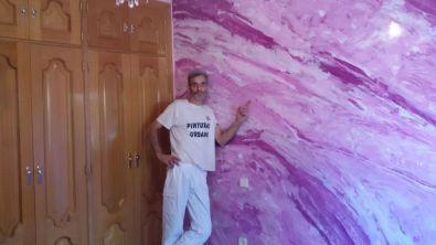 Estuco Marmol a 3 colores Violeta con cera (2)