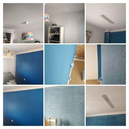 Quitar Gotele y Esmalte liso color azul y blanco en Getafe -COLLAGE