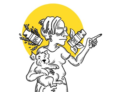 Illustration of a white woman pointing her finger while holding a dog.
