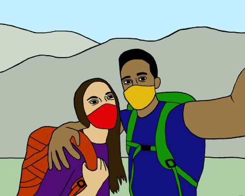 Illustration of two students taking a selfie while wearing hiking gear and face masks.