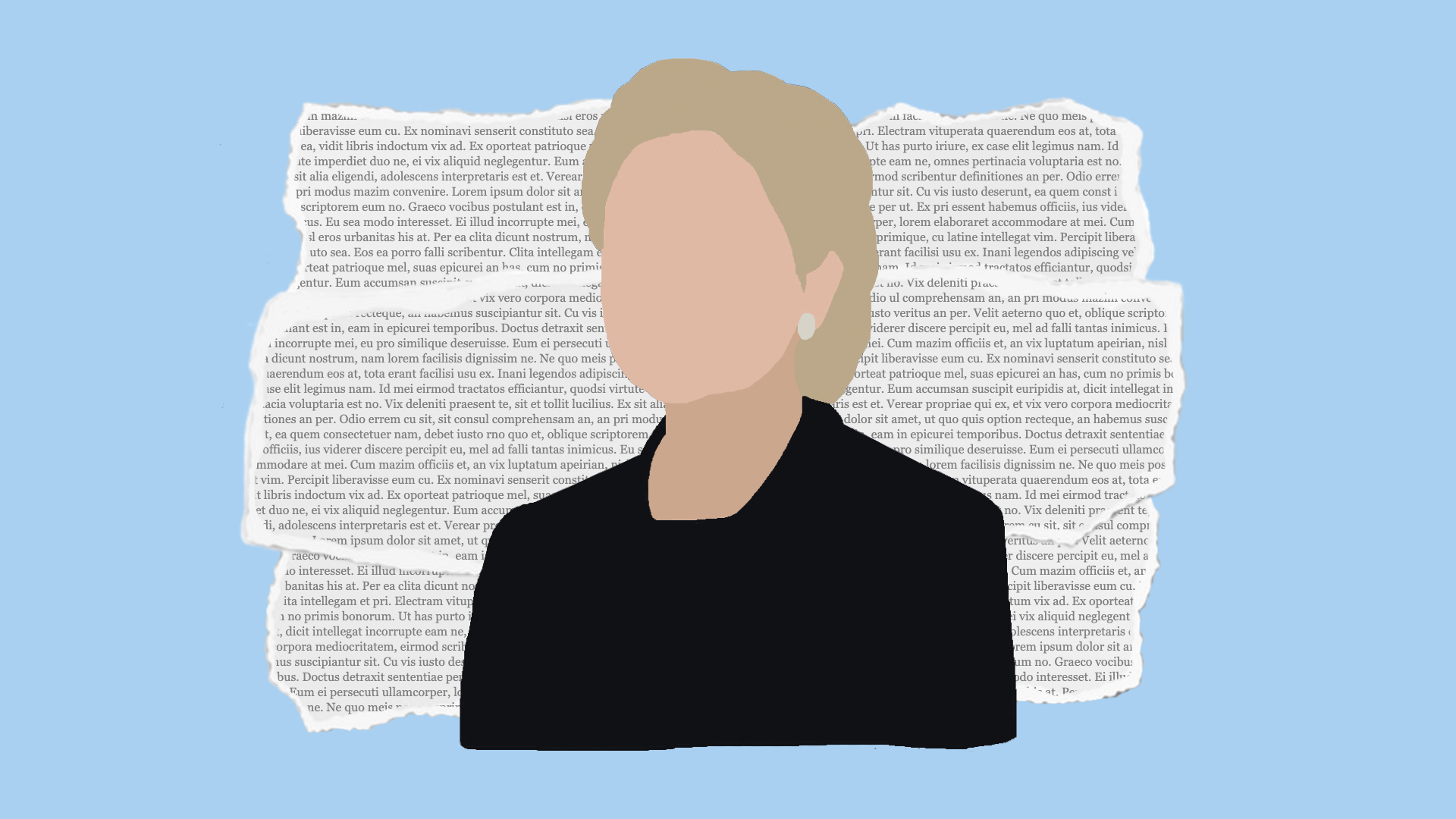 Portrait of Hillary Clinton against a light blue background.