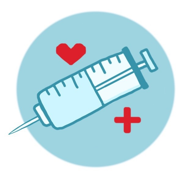 A syringe full of a flue vaccine sits on a circle alongside a heart and a plus sign