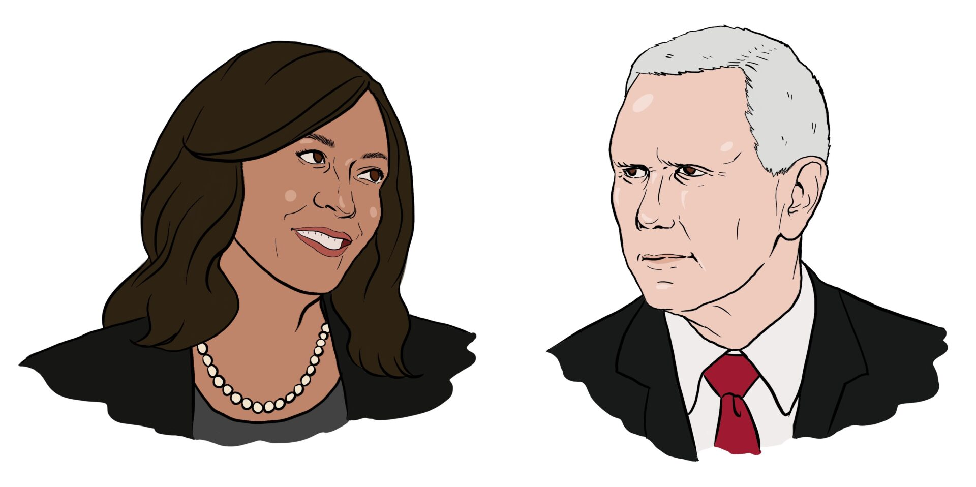 Illustration of Sen. Kamala Harris and Vice President Mike Pence