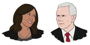 Illustration of Sen. Kamala Harris and Vice President Mike Pence
