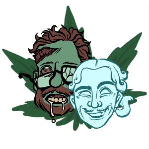 Zombie Seth Rogen and Ghost James Franco in front of a giant marijuana leaf background