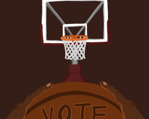 "Illustration of hands on basketball and ""vote"" on the ball"