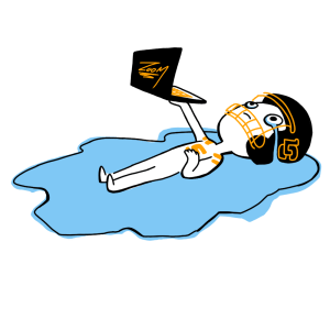 Figure lying in tears wearing LC Pios gear and holding a laptop