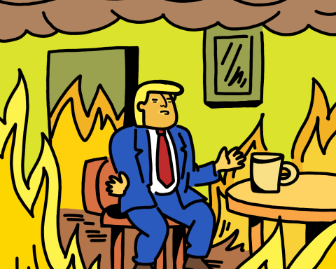 "Trump sits in a chair surrounding by a house on fire mimicking a meme where a cartoon dog says ""this is fine"" while sitting in a chair in a burning building."