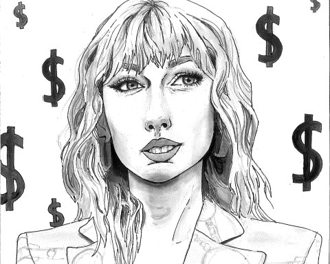A portrait of Taylor Swift is surrounded by dollar signs.