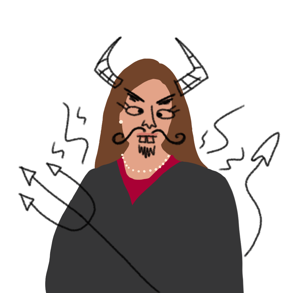 An illustrated Amy Coney Barrett in her justice robes has scribbles over her, giving her a mustache, horns, pitchfork and general formidable demeanor.