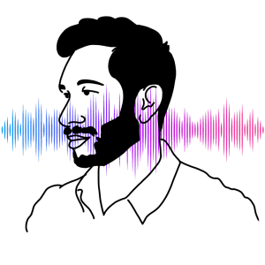 """A silhouette of Hrishikesh Hirway, host of """"Song Exploder,"""" in front of a colorful sound wave."""